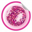 Disco ball purple sticker - Stock Vector