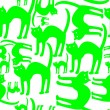 Royalty-Free Stock Imagen vectorial: Green cats pattern isolated on white bac