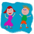 Happy boy and girl — Imagen vectorial