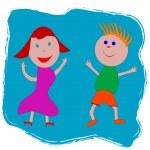 Happy boy and girl — Stock Vector