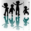 Happy children silhouettes — Stock Vector #1245647