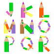 Royalty-Free Stock Vector Image: Pencils alphabet J-R