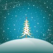 Stock Vector: Stars, snow and christmas tree 2