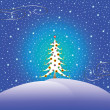 Stock Vector: Stars snow and christmas tree