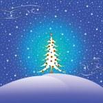 Stars snow and christmas tree — Stock Vector #1246048
