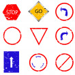 Royalty-Free Stock Vector Image: Traffic sign stamp