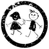 Beautiful kids stamp — Stock Vector