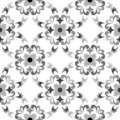 Black and white seamless floral pattern — Vetor de Stock