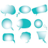Collection of stylized blue text bubbles — Stock Vector