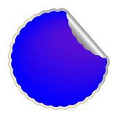 Flowerish blue label — Stock Vector
