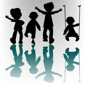 Happy children silhouettes — Vetor de Stock