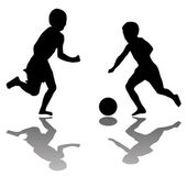 Kids playing soccer (black) isolated on — Stockvector