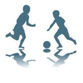 Kinderen spelen voetbal — Stockvector