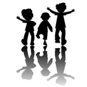 Kids silhouettes isolated on white backg — Stock Vector