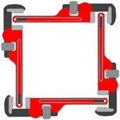 Pipe wrench photo frame — Vetor de Stock