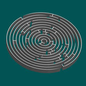Tridimensional round maze — Stock Vector
