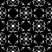 White and black seamless floral pattern — Stock Vector