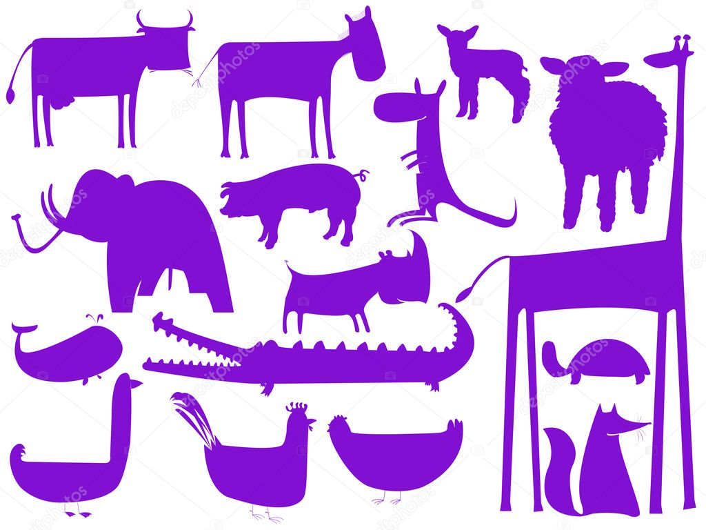 Animal purple silhouettes isolated on white, vector art illustration — Imagens vectoriais em stock #1244898