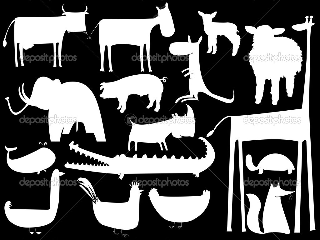 Animal white silhouettes isolated on black, vector art illustration  Stock Vector #1244903
