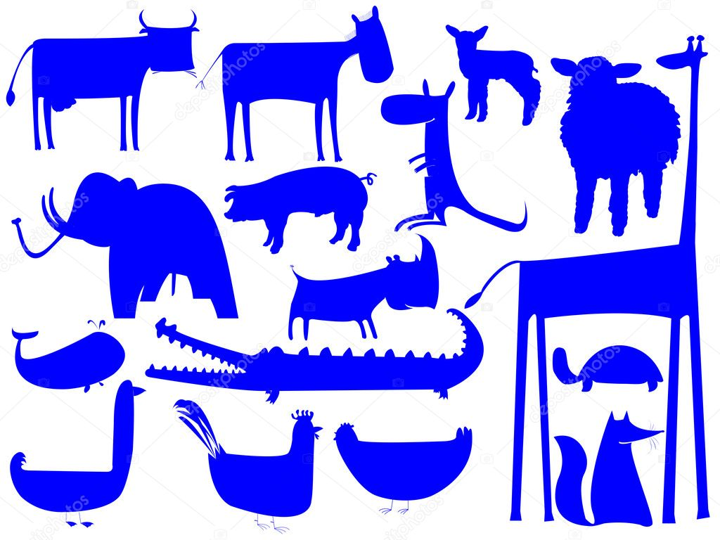 Animal blue silhouettes isolated on white, vector art illustration; easy to change colors — Stock Vector #1244915