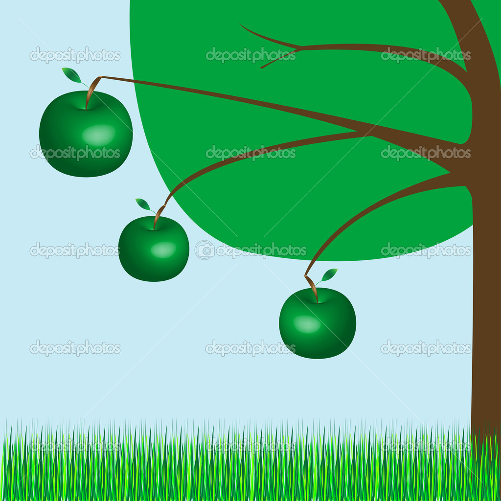 Apple tree, vector art illustration; more drawings in my gallery — Stock Vector #1244920