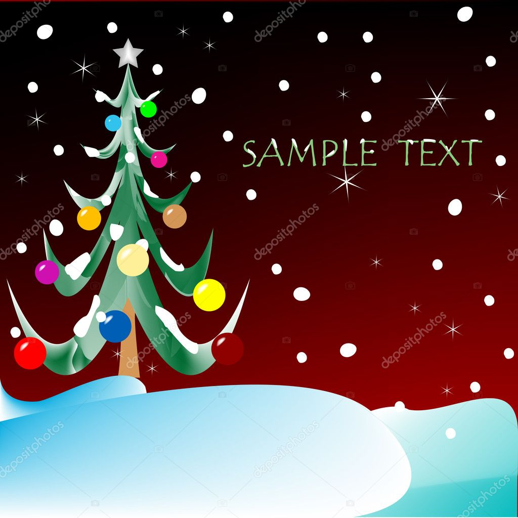 Christmas tree with space for text, vector art illustration, more drawings in my gallery  Stock Vector #1245146
