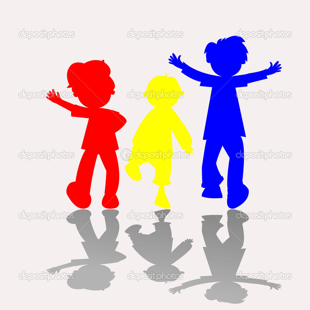 Happy kids silhouettes, vector art illustration — Stock Vector #1245223