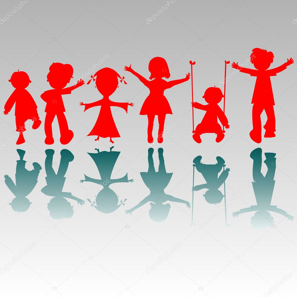 Happy boys and girls silhouettes, vector art illustration; more drawings and silhouettes in my gallery — Stock Vector #1245644