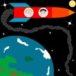 Royalty-Free Stock Imagen vectorial: Rocket to the moon