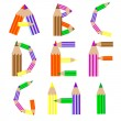 Pencils alphabet A-I — Stock Vector