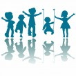 Stock Vector: Happy little kids silhouettes