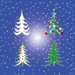 Royalty-Free Stock Vector Image: Four christmas trees