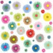 Stock Vector: Colored flowers pattern on white