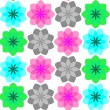 Stock Vector: Colored flowers seamless pattern 3
