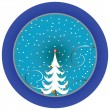 Stock Vector: Christmas tree blue medallion