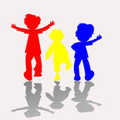 Colored kids silhouettes 2 — Stock Vector