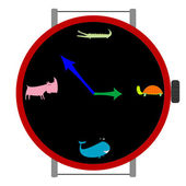 Clock with animals — Stock Vector