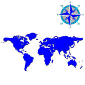 Blue world map with wind rose — Vector de stock