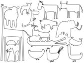 動物の黒と白のシルエット — ストックベクタ