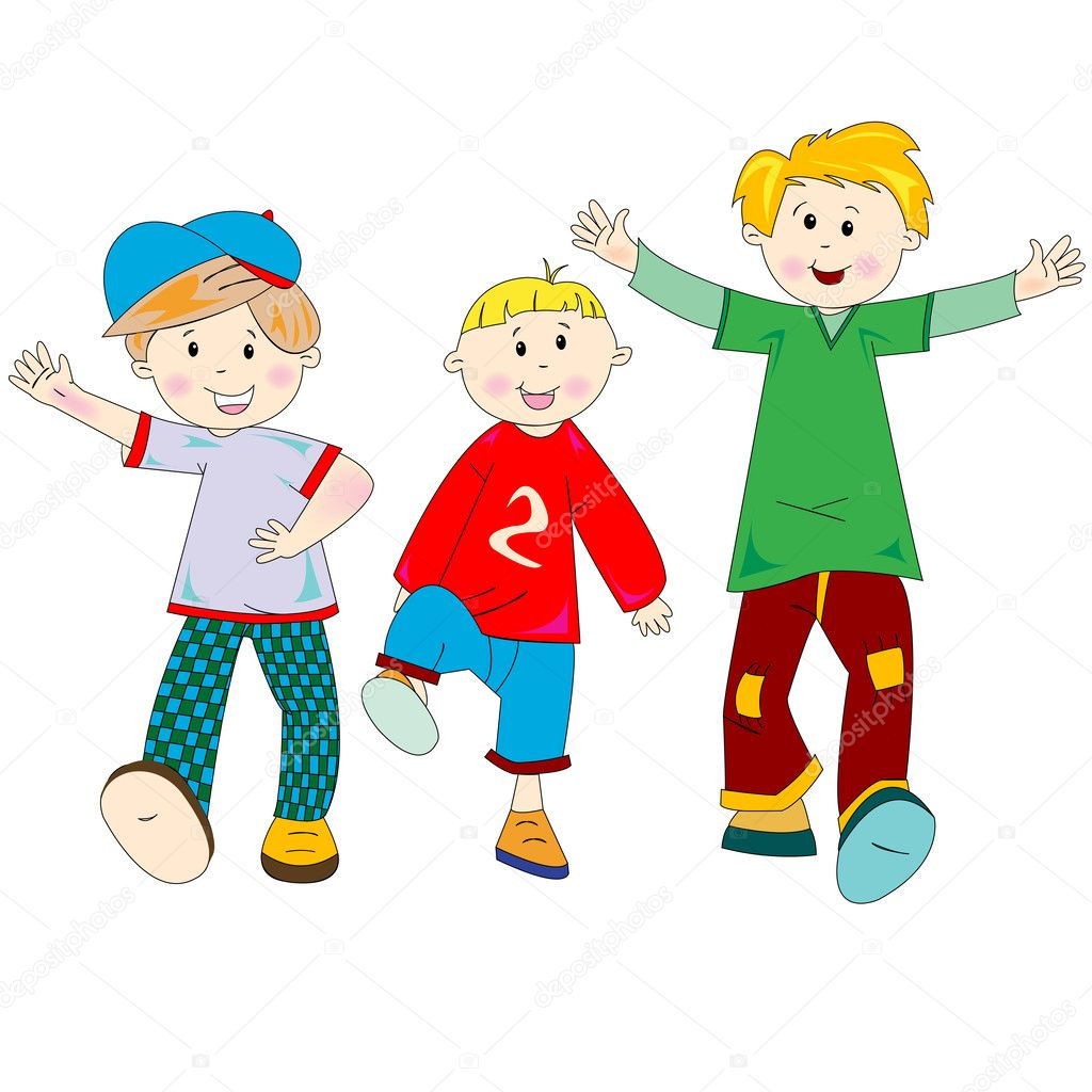 Happy kids cartoon, vector art illustration; more drawings in my gallery — Stok Vektör #1478186