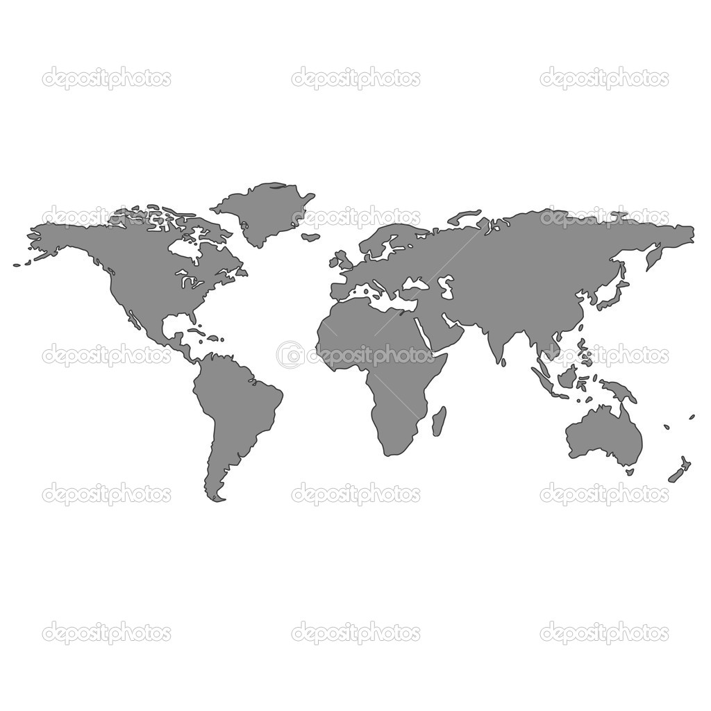 Gray world map, vector art illustration — Stock Vector #1478218