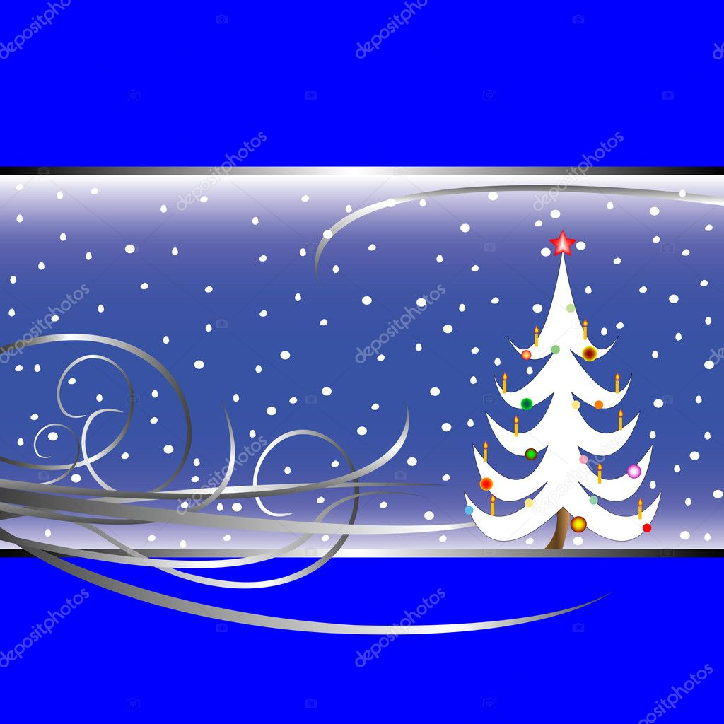 Christmas tree card on blue background, vector art illustration  Stock Vector #1478352