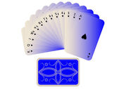 Spades cards fan with deck on white — Stock Vector