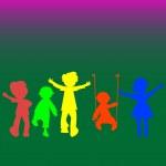 Retro little kids silhouettes — Stock Vector