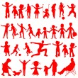 Постер, плакат: Peoples red silhouettes on white