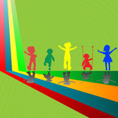 Silhouettes of children playing — Stockvector