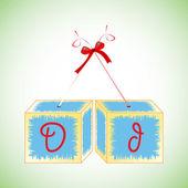 Cubes alphabet D — Stock Vector
