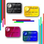 Dyskoteka kolekcja kart kredytowych — Wektor stockowy