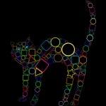 Geometric cat isolated on black — Stock Vector