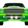 Royalty-Free Stock Vector Image: Green sport car front isolated on white